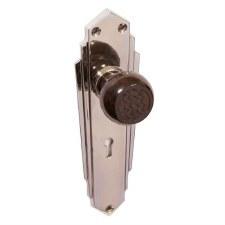 Bakelite Ritz Door Knobs Walnut on Empire Lockplates Chrome