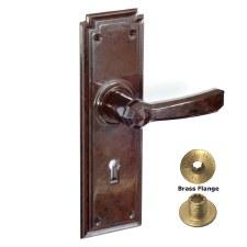 Brolux Bakelite 6402 Unsprung Door Handles Walnut With Keyhole