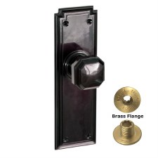 Brolux Bakelite 6403 Door Knobs Black No Keyhole