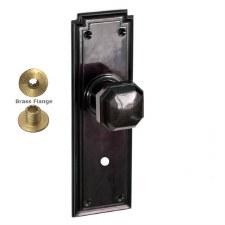 Brolux Bakelite 6403 Bathroom Door Knobs Black with Chrome Turn