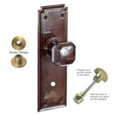 Brolux Bakelite 6403 Bathroom Door Knobs Walnut with Brass Turn
