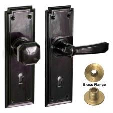 Brolux Bakelite 6405 Unsprung Door Handle & Knob Black