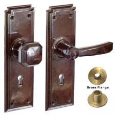Brolux Bakelite 6405 Door Handle & Knob Walnut