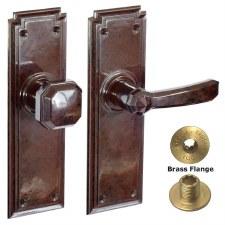 Brolux Bakelite 6406 Unsprung Door Handle & Knob Walnut