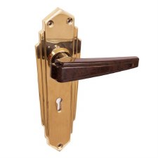 BROLITE 6629M Brass with Walnut Bakelite Unsprung Lock Handles