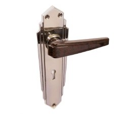 Brolite 6629M Chrome with Walnut Bakelite Unsprung Lock Handles
