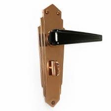Bakelite Plaza Door Handles Black on Empire Bathroom Plates Copper