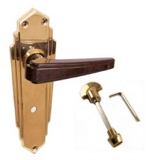 BROLITE 6632M Brass with Walnut Bakelite Unsprung Bathroom Door Handles