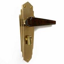 Bakelite Plaza Door Handles Walnut on Empire Bathroom Plates Brass