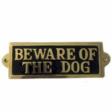 Beware Of The Dog Sign Polished Brass