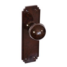 Bakelite Ball Door Knobs on Deco Latchplates Walnut
