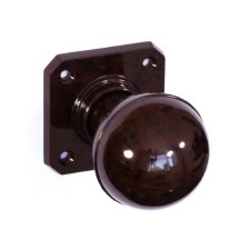 Bakelite Ball Door Knobs on Square Rose Walnut