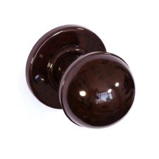 Bakelite Ball Door Knobs on Round Rose Walnut