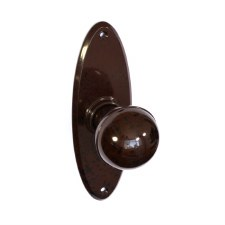 Bakelite Ball Door Knobs on Oval Latchplate Walnut