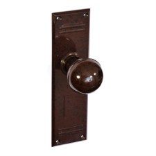 Bakelite Ball Door Knobs on Gatsby Latchplate Walnut