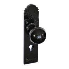 BROLITE 6727 Real Bakelite Door Lock Knobs Black