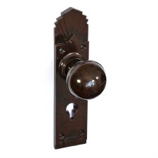 BROLITE 6727 Real Bakelite Door Lock Knobs Walnut