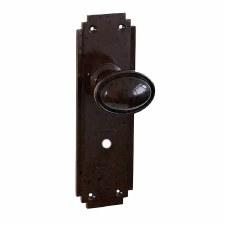Bakelite Stepped Oval Door Knobs on Deco Bathroom Plates Walnut