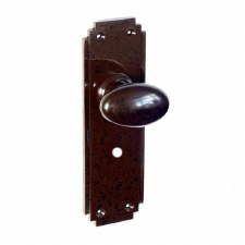 Bakelite Smooth Oval Door Knobs on Deco Bathroom Plates Walnut