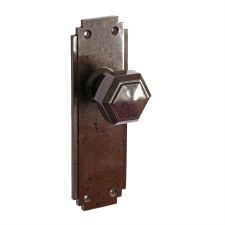 Bakelite Hexagon Door Knobs on Deco Latchplates Walnut