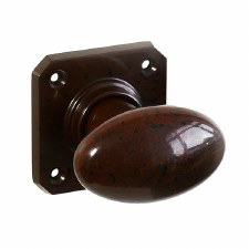 Bakelite Smooth Oval Door Knobs on Square Rose Walnut