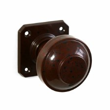 Bakelite Round Door Knobs on Square Rose Walnut