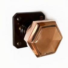 Brolite Hexagonal Copper Door Knobs on Walnut Bakelite Rose