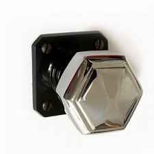 Brolite Hexagonal Chrome Door Knobs on Black Bakelite Rose