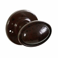 Bakelite Stepped Oval Door Knobs on Round Rose Walnut