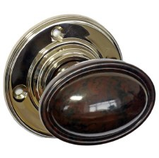 Bakelite Stepped Oval Door Knobs Walnut on Nickel Rose