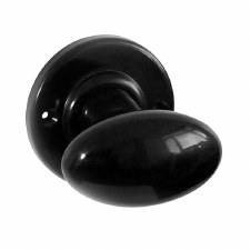 Bakelite Smooth Oval Door Knobs on Round Rose Black