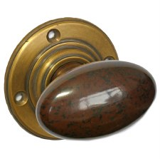 Bakelite Smooth Oval Door Knobs Walnut on Antique Rose