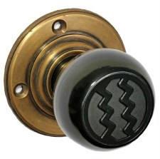 Bakelite Ritz Door Knobs Black on Antique Rose