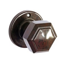 Bakelite Hexagonal Door Knobs on Round Rose Walnut