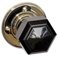 Bakelite Hexagonal Door Knobs Black on Nickel Rose
