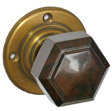 Bakelite Hexagonal Door Knobs Walnut on Antique Rose