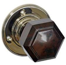 Bakelite Hexagonal Door Knobs Walnut on Nickel Rose