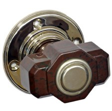 Bakelite Deco Tee Door Knobs Walnut on Nickel Rose