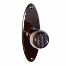 Bakelite Ritz Door Knobs on Oval Latchplates Walnut