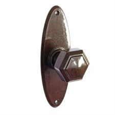 Bakelite Hexagonal Door Knobs on Oval Latchplates Walnut