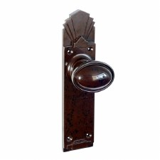 Bakelite Stepped Oval Door Knobs on Palais Latchplates Walnut