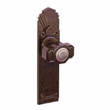 Bakelite Deco Tee Door Knobs on Palais Latchplates Walnut