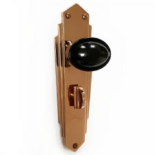 Bakelite Stepped Oval Door Knobs Black on Empire Bathroom Plates Copper