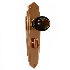 Bakelite Stepped Oval Door Knobs Walnut on Empire Bathroom Plates Copper