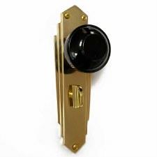 Bakelite Round Door Knobs Black on Empire Bathroom Plates Brass