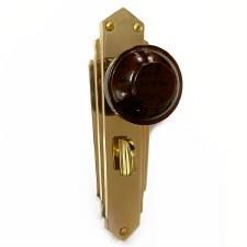 Bakelite Round Door Knobs Walnut on Empire Bathroom Plates Brass