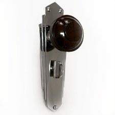 Bakelite Round Door Knobs Walnut on Empire Bathroom Plates Chrome