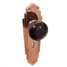 Bakelite Round Door Knobs Black on Empire Lockplates Copper
