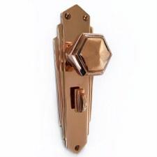Hexagonal Art Deco Bathroom Knobs Polished Copper