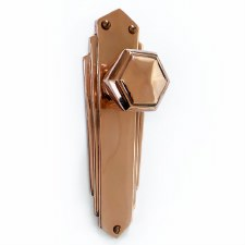Hexagonal Art Deco Mortice Knobs on Latch Plate Polished Copper